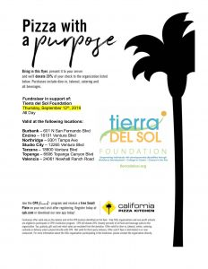 Pizza with a Purpose Fundraiser in support of: Tierra del Sol Foundation